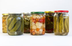 Pickle jars. Isolated on white Royalty Free Stock Photography