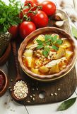 Pickle soup with chicken meat royalty free stock image