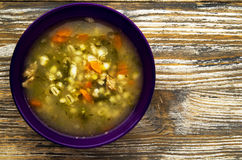 Pickle soup .healthy soup .soup top view.  Stock Images