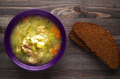 Pickle soup .healthy soup .soup top view.  Stock Photos
