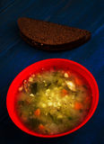 Pickle soup .healthy soup .soup top view.  Stock Photo