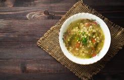 Pickle soup .healthy soup .soup top view.  Stock Image
