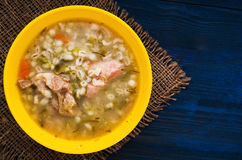 Pickle soup .healthy soup .soup top view.  Stock Photography