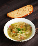 Pickle soup .healthy soup .soup top view.  Royalty Free Stock Images