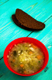 Pickle soup .healthy soup .soup top view.  Royalty Free Stock Photos