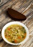 Pickle soup .healthy soup .soup top view.  Royalty Free Stock Photo