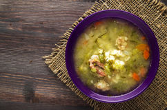 Pickle soup .healthy soup .soup top view.  Royalty Free Stock Image