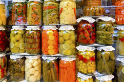 Pickle Types. Homemade pickles exhibition.Types Pickle Jar Stock Photography