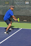 Pickleball Action - Man in Blue Guarding the Sideline During A Match Royalty Free Stock Photos