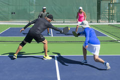 Pickleball - Mixed Doubles Action Stock Image