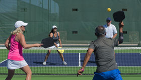 Pickleball - Mixed Doubles Action Royalty Free Stock Photography