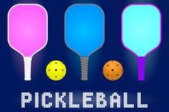 Pickleball-Paddelschläger und -bälle stock abbildung