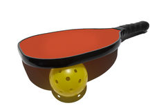 Pickleball Paddle Resting on Ball. Colorful simple image of a pickleball paddle resting on a pickleball set on a white background Royalty Free Stock Image