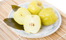 Pickled apples on a plate Stock Images