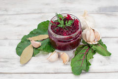 Pickled beet in a jar Stock Photo