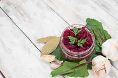 Pickled beet in a jar Royalty Free Stock Photo