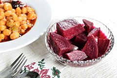 Pickled beets. On glass plate Stock Photos