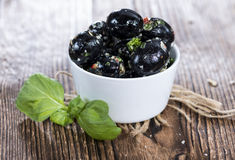 Pickled Black Olives Stock Photo