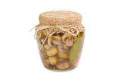 Pickled button mushrooms in glass jar Royalty Free Stock Photos