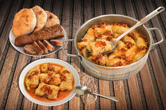Pickled Cabbage Rolls Served On Rustic Bamboo Place Mat With Pitta Bread Loafs And Sliced Integral Baguette Stock Images