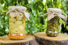 Pickled capers and mushrooms in glass jars Stock Photos
