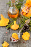 Pickled chanterelle mushrooms Stock Photo