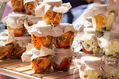Pickled cheeses royalty free stock image