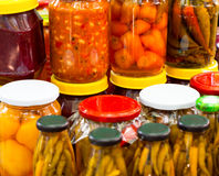 Pickled chili peppers in jars Royalty Free Stock Images