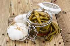 Pickled Chilis in a glass Stock Photos