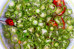 Pickled chilli vinegar stock photos