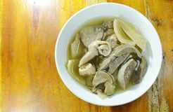 Pickled Chinese cabbage with pork entrails and bone soup in bowl Royalty Free Stock Photography