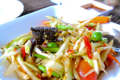 Pickled crab salad or Papaya salad on table& x28;Som tum& x29;,Green Papay. Papaya salad Thai famous food Stock Photos