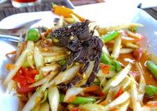 Pickled crab salad or Papaya salad on table& x28;Som tum& x29;,Green Papay Stock Photography