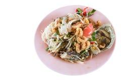 Pickled crab salad or Papaya salad & x28;Som tum& x29; Royalty Free Stock Photos
