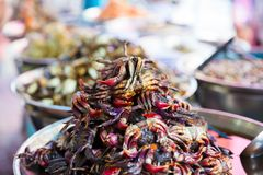 Pickled Crabs For Sale At Local Thai Street Market Stock Photography