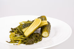 Pickled cucumber in brine. Homemade pickles in brine on a white plate Stock Image