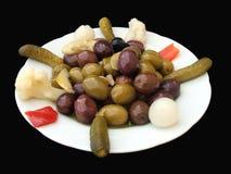 Pickled cucumber. olives . gherkins. preserved vegetable Stock Photography