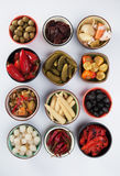 Pickled cucumber, olives and vegetables Stock Photo
