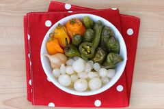 Pickled cucumber and peppers Royalty Free Stock Images