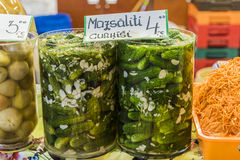 Pickled cucumber at retail store Royalty Free Stock Image