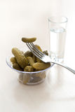 Pickled cucumber and vodka Royalty Free Stock Image