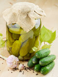 Pickled cucumbers. Homemade preserved vegetables Royalty Free Stock Photography