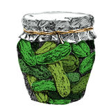 Pickled cucumbers in brine and jar vector. Stock Photo