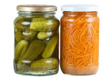 Pickled cucumbers and carrots Stock Photos