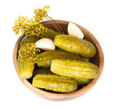 Pickled cucumbers with dill and garlic Stock Photo