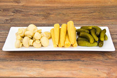 Pickled Cucumbers Gherkins, Mushrooms and Corn Royalty Free Stock Photography