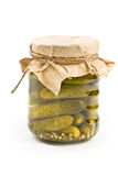 Pickled cucumbers in glass jar Stock Images