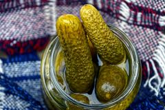 Pickled cucumbers in glass jar Royalty Free Stock Photography
