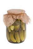 Pickled cucumbers in glass jar isolated us white Stock Photo