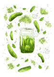 Pickled cucumbers. Hand drawn illustration Stock Photo